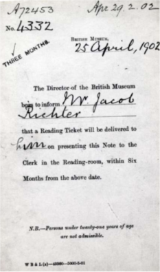 Lenin's British Museum reader's card, under his nom-de-plume Jacob Richter.