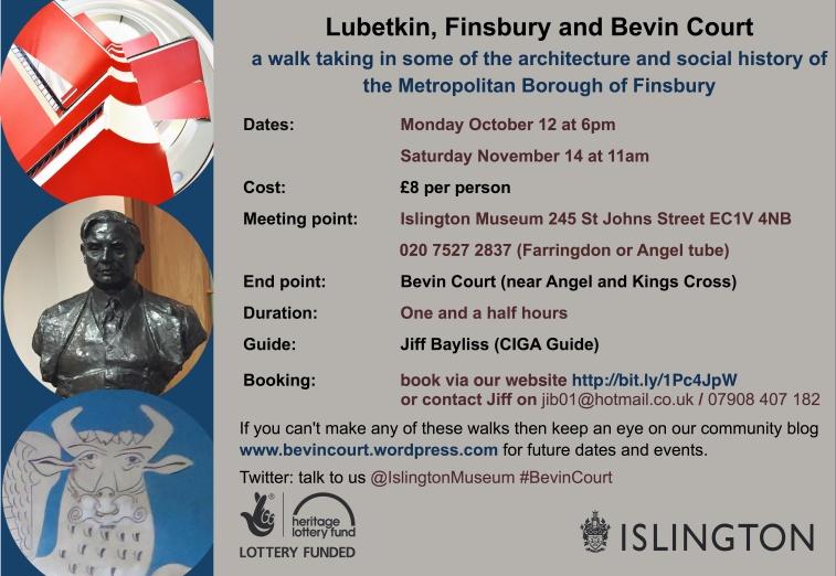 advert for Bevin Court Walk October and November