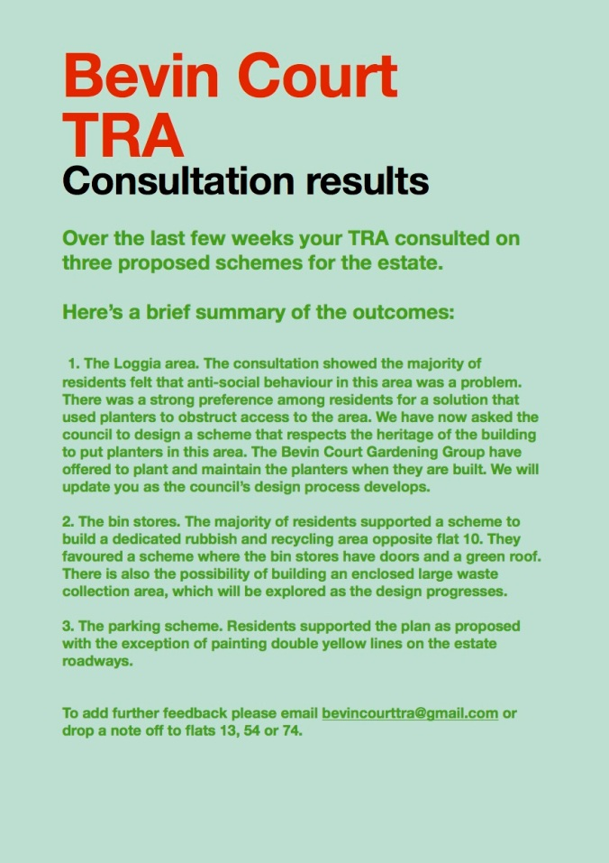 TRA update on consultation
